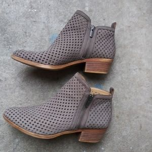 EUC gray leather boots